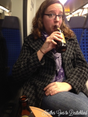 Holly enjoys a Schlenkerla on the train.